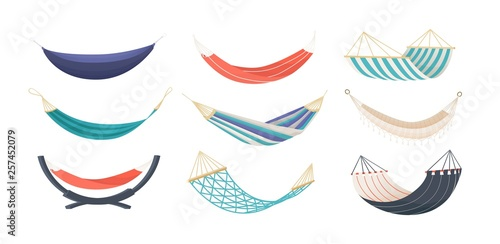Fotografie, Obraz Collection of hammocks of different types isolated on white background