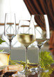 One glass of white wine and two empty glasses on the table, decorated with cheese, bread and grape leaves.