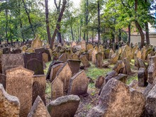 Tombstones On Old Jewish Cemetery In The Jewish Quarter In Prague.