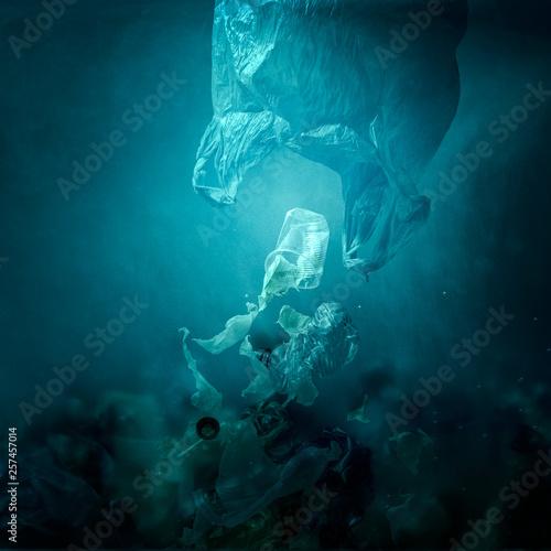 Fotografie, Obraz  Floating plastic bag dispersing waste and polluting the ocean