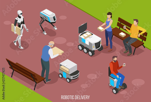 Fotografia  Robotic Delivery Isometric Composition