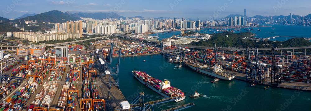 Fototapeta Hong Kong container port