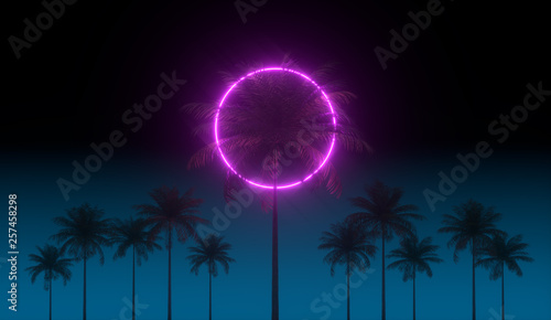 Fotografia  3D vaporwave render background with neon circle, palms and night blue sky