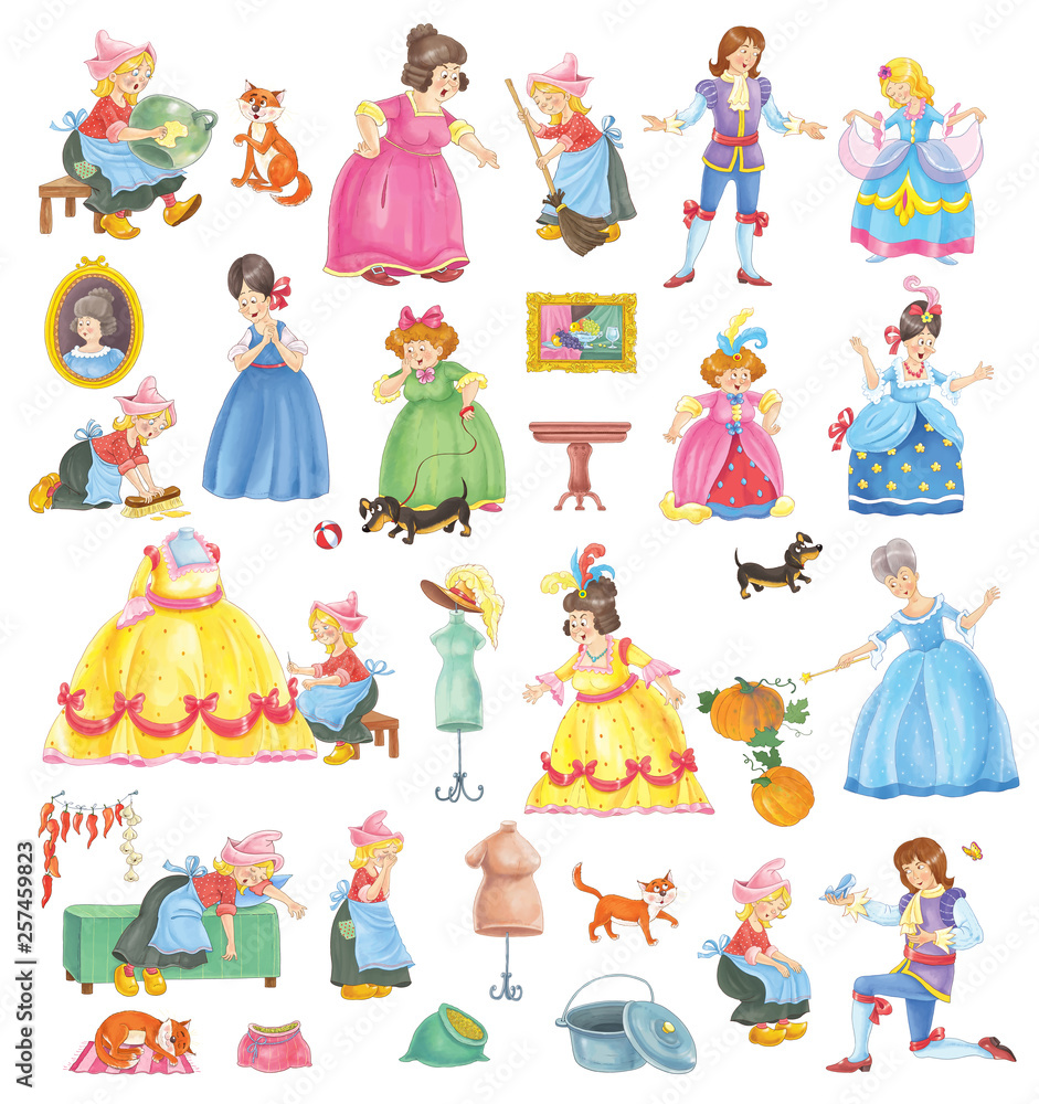 Fototapeta Cinderella. Fairy tale. Coloring book. Coloring page. Set of cute cartoon characters isolated on white background