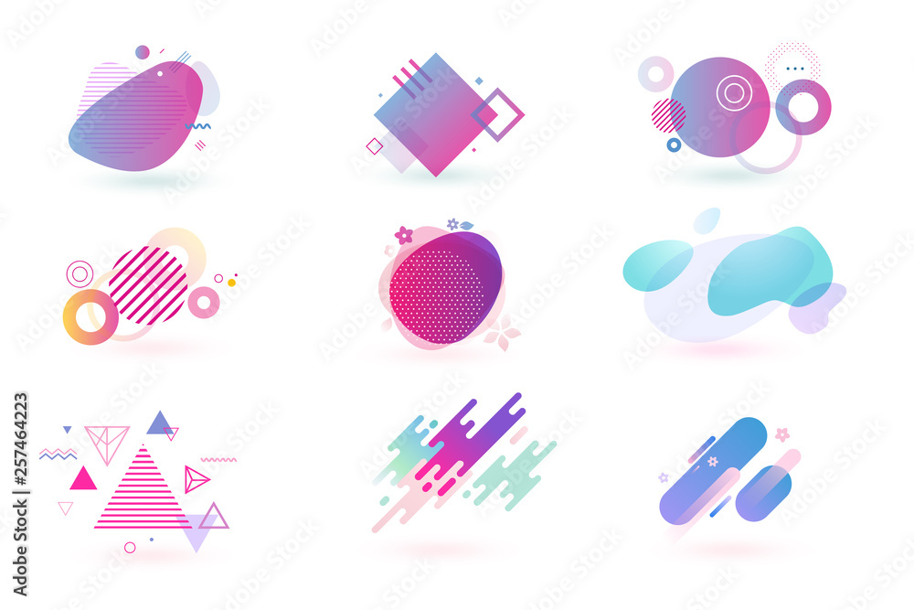 Fototapety, obrazy: Set of abstract graphic design elements. Vector illustrations for logo design, website development, flyer and presentation, background, cover design, isolated on white.