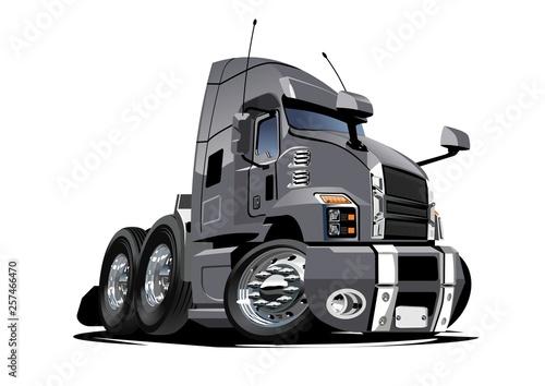 Kreskówka ciężarówka pół na białym tle