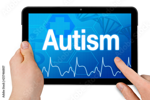 Can Computer Diagnose Autism >> Tablet Computer With Diagnosis Autism Isolated On White Background