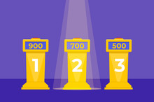 Quiz Show Three Tables Concept Flat Style.  Tv Competition. Vector Illustration.
