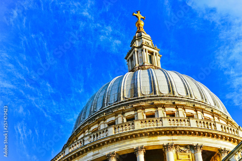 View of St. Paul's Cathedral on a sunny day in London. Canvas Print