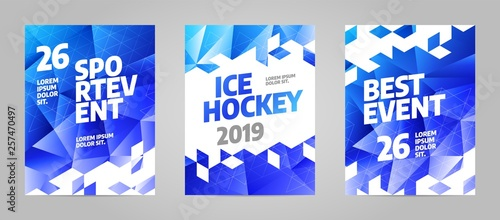 Fotomural Layout poster template design for sport event, tournament, championship or ice hockey