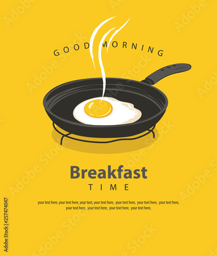 Fotografie, Tablou Vector banner on the theme of Breakfast time with a fried egg on a frying pan, w