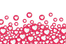 White Background With Hearts Signs. Social Network Emoticons Illustration Vector..