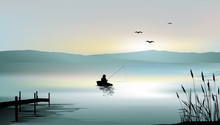 Sunrise On The Lake And A Fisherman Boat - Vector Illustration