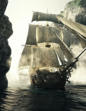 Front View Of A Pirate Ship Piercing Through The Fog Of A Narrow Channel. 3d Rendering