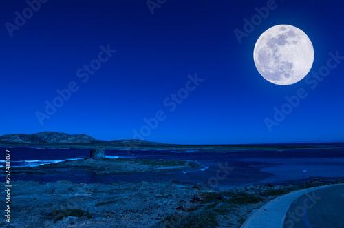 Fotografia  Landscape of beach at night