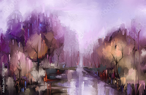 Keuken foto achterwand Purper Oil painting colorful autumn trees. Vintage paint color image of landscape, forest with yellow, red leaf and lake. Autumn, Fall season nature background. Hand Painted Impressionist, outdoor landscape