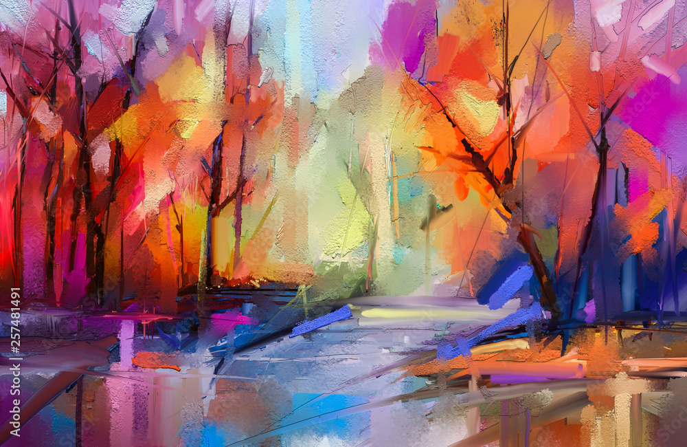 Fototapeta Oil painting colorful autumn trees. Semi abstract image of forest, landscapes with yellow - red leaf and lake. Autumn, Fall season nature background. Hand Painted Impressionist, outdoor landscape