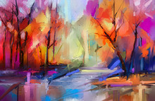 Oil Painting Colorful Autumn Trees. Semi Abstract Image Of Forest, Landscapes With Yellow - Red Leaf And Lake. Autumn, Fall Season Nature Background. Hand Painted Impressionist, Outdoor Landscape