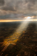 A Large Crepuscular Ray Of Light Pierces Through The Clouds Just Outsode Of Hendersonville, NC.