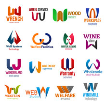 W Letter Corporate Identity, Business Icons