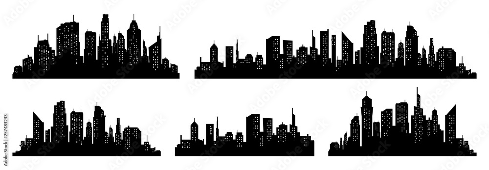 Fototapeta City silhouette vector set. Panorama city background. Skyline urban border collection.
