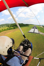In-cockpit View Of A Man Flying His Airborne Classic Ultralight Trike On Final Approach To The Marion County Airport Near Jasper