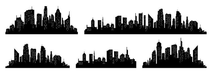 Miasto sylwetka wektor zestaw. Panorama miasta w tle. Kolekcja miejskich granic Skyline.