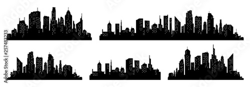 City silhouette vector set. Panorama city background. Skyline urban border collection.