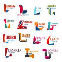 L Letter Corporate Identity, Business Icons