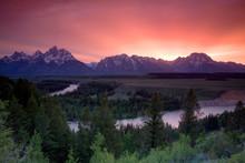 Sunset Over Mountains, Wyoming, USA