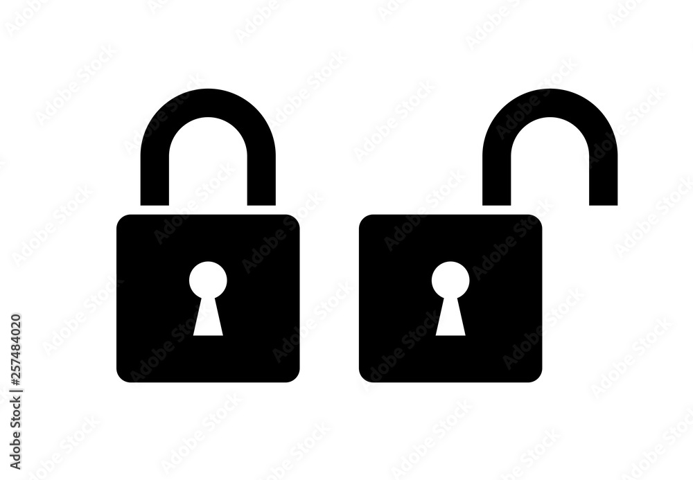 Fototapety, obrazy: Open and closed lock icon