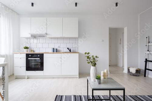 Fototapeta Modern studio apartment with kitchenette obraz