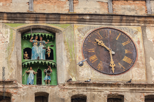 Part of the facade of the clock tower in Sighisoara, Romania Tablou Canvas