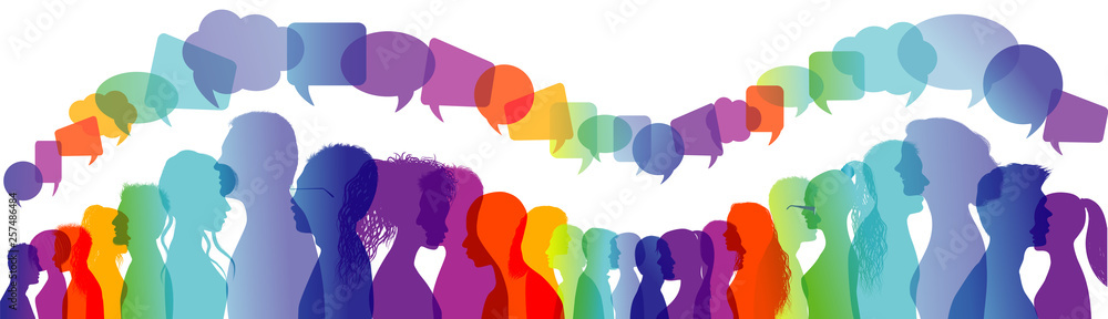 Fototapety, obrazy: Dialogue group of people. Crowd talking. Communication between people. Silhouette profiles. Rainbow colours. Speech bubble