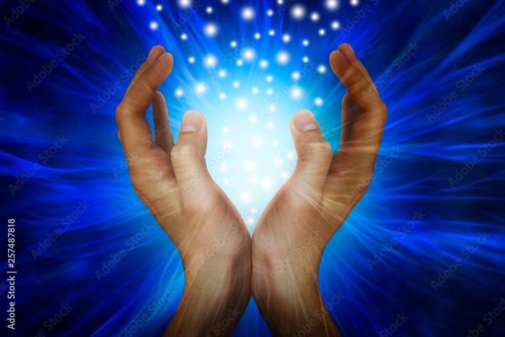 Fototapeta Hands with power rays