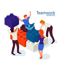 Isometric Teamwork Concept Ban...