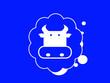 Leinwanddruck Bild -  Cow head on blue background