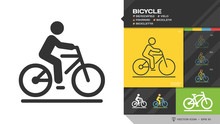 Vector Isolated Bicycle Black Silhouette And Editable Stroke Line Icon. Bike Symbol With Rider On Road Color Shape And Outline Pictogram.