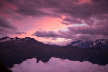 Purple Sky At Sunset Over Mountain Range In Swiss Alps