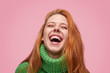 canvas print picture - Wonderful laughing girl on pink background