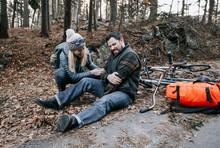 Woman Comforting Injured Man, Portland, Maine,  USA