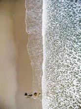 Winter Aerial View Over Beach,...