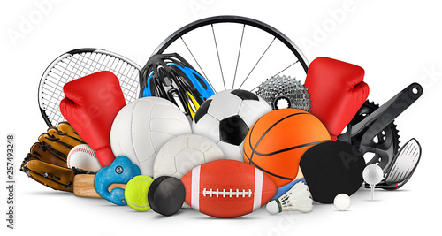 Photo huge collection stack of sport goods and balls gear bicycle wheel equipment from