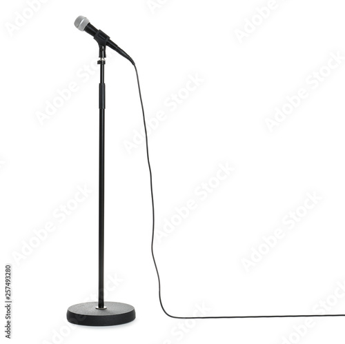 Fotografía  Stand with modern microphone on white background