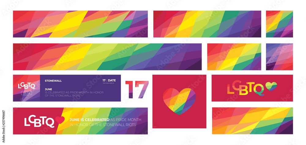 Fototapeta Support for LGBTQ pride. Colorful backgrounds. Rainbow abstract. Templates for banners, flyers.