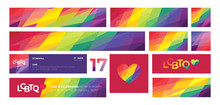 Support For LGBTQ Pride. Colorful Backgrounds. Rainbow Abstract. Templates For Banners, Flyers.