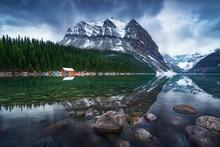 Mountain Landscape Of Lake Louise, Alberta, Canada