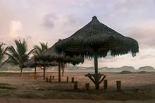 Thatched Umbrellas On Beach, Monteverde, Santa Elena Province, Ecuador