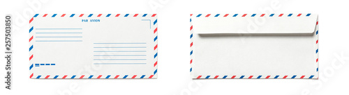 Photo Blank airmail envelope isolated, front and back views
