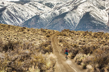 MONO LAKE, CA, USA. A Young Woman Rides A Mountain Bike Down A Dirt Road With Snow-covered Mountains In The Distance.